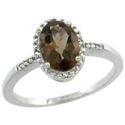 Natural 1.2 ctw Smoky-topaz & Diamond Engagement Ring 14K White Gold - REF-23W2K