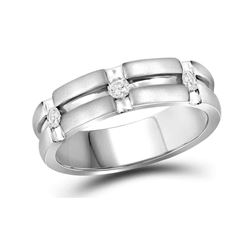 0.23 CTW Mens Diamond Matte-finish Wedding Anniversary Ring 10KT White Gold - REF-59M9H