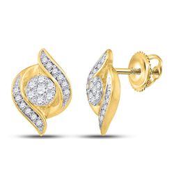 0.25 CTW Diamond Flower Screwback Stud Earrings 14KT Yellow Gold - REF-33N7F