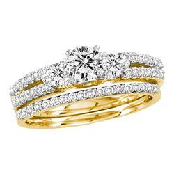 1 CTW Diamond Bridal Wedding Engagement Ring 14KT Yellow Gold - REF-109F4N