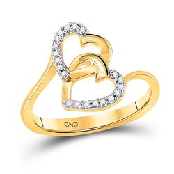 0.08 CTW Diamond Double Heart Love Ring 10KT Yellow Gold - REF-13M4H