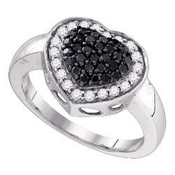0.58 CTW Black Color Diamond Heart Cluster Ring 10KT White Gold - REF-36H2M