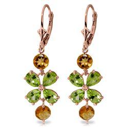 Genuine 5.32 ctw Peridot & Citrine Earrings Jewelry 14KT Rose Gold - REF-50F3Z