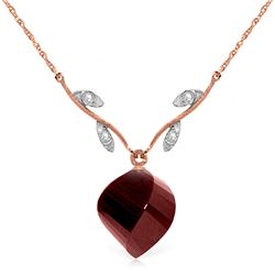 Genuine 15.27 ctw Ruby & Diamond Necklace Jewelry 14KT Rose Gold - REF-46R7P