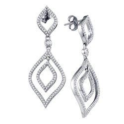 0.75 CTW Diamond Screwback Stud Dangle Oval Earrings 10KT White Gold - REF-52Y4X