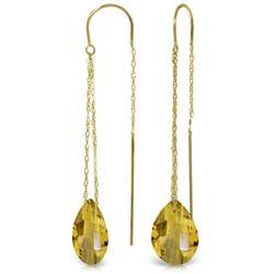 Genuine 6 ctw Citrine Earrings Jewelry 14KT Yellow Gold - REF-21M9T