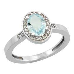 Natural 0.79 ctw Aquamarine & Diamond Engagement Ring 14K White Gold - REF-33G6M