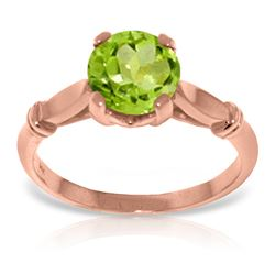 Genuine 1.15 ctw Peridot Ring Jewelry 14KT Rose Gold - REF-51A4K