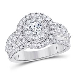 1.99 CTW Diamond Solitaire Halo Bridal Engagement Ring 14KT White Gold - REF-285Y2X