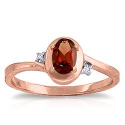 Genuine 0.51 ctw Garnet & Diamond Ring Jewelry 14KT Rose Gold - REF-25H4X
