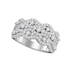 1.13 CTW Pave-set Diamond Strand Cocktail Ring 14KT White Gold - REF-104H9M