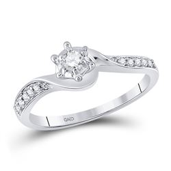0.16 CTW Diamond Solitaire Bridal Engagement Ring 10KT White Gold - REF-19W4K