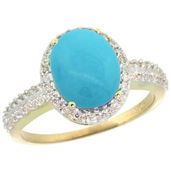Natural 2.56 ctw Turquoise & Diamond Engagement Ring 14K Yellow Gold - REF-48K6R