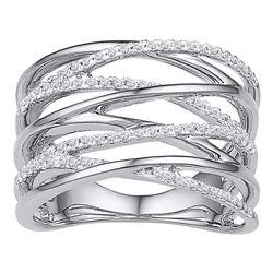 0.25 CTW Diamond Crossover Open Strand Ring 10KT White Gold - REF-33M8H