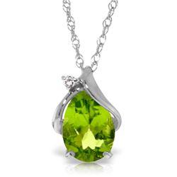 Genuine 2.13 ctw Peridot & Diamond Necklace Jewelry 14KT White Gold - REF-28P8H
