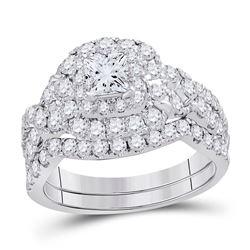 1.97 CTW Princess Diamond Bridal Engagement Ring 14KT White Gold - REF-277M3H