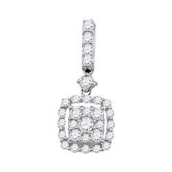 0.50 CTW Diamond Square Cluster Pendant 14KT White Gold - REF-37H5M