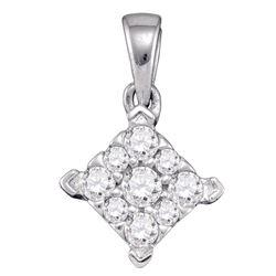 0.26 CTW Diamond Square Cluster Pendant 10KT White Gold - REF-22M4H