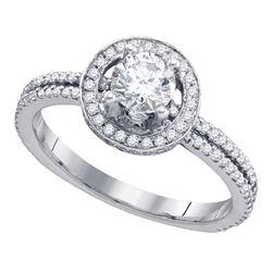 0.88 CTW Diamond Solitaire Bridal Engagement Ring 14k White Gold - REF-142W4K