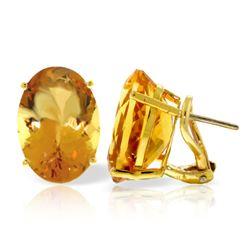 Genuine 13 ctw Citrine Earrings Jewelry 14KT Yellow Gold - REF-57K3V