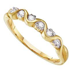 0.10 CTW Diamond Wave Ring 10KT Yellow Gold - REF-10H5M
