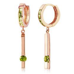 Genuine 1.35 ctw Peridot Earrings Jewelry 14KT Rose Gold - REF-66A2K