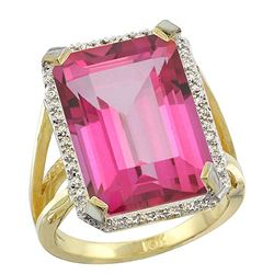 Natural 13.72 ctw Pink-topaz & Diamond Engagement Ring 10K Yellow Gold - REF-65R2Z