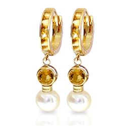 Genuine 6.15 ctw Citrine & Pearl Earrings Jewelry 14KT Yellow Gold - REF-47H6X