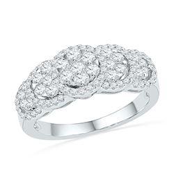 0.63 CTW Diamond Flower Cluster Ring 10KT White Gold - REF-49X5Y