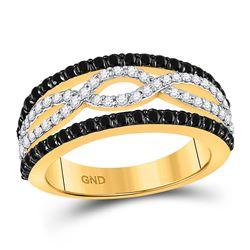 1 CTW Black Color Diamond Ring 10KT Yellow Gold - REF-52N4F