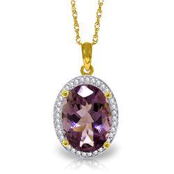 Genuine 5.28 ctw Amethyst & Diamond Necklace Jewelry 14KT Yellow Gold - REF-70X6M