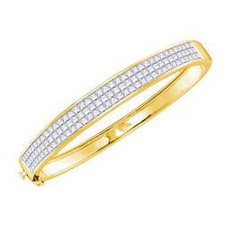 6.01 CTW Princess Diamond Luxury Bangle Bracelet 14KT Yellow Gold - REF-659H8M