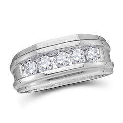 0.25 CTW Diamond Mens Channel-set Classic 7mm Wedding Ring 14k White Gold - REF-44F9N
