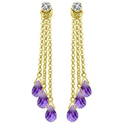 Genuine 10.53 ctw Amethyst & Diamond Earrings Jewelry 14KT Yellow Gold - REF-32X9M