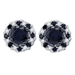 1 CTW Black Color Diamond Stud Earrings 10KT Yellow Gold - REF-34Y4X