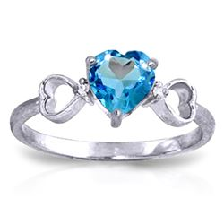 Genuine 0.96 ctw Blue Topaz & Diamond Ring Jewelry 14KT White Gold - REF-41F4Z