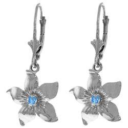 Genuine 0.20 CTW Blue Topaz Earrings Jewelry 14KT White Gold - REF-65P6H
