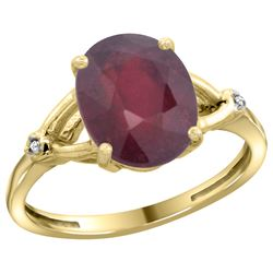Natural 3.65 ctw Ruby & Diamond Engagement Ring 10K Yellow Gold - REF-29Z7Y