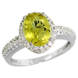 Natural 1.91 ctw Lemon-quartz & Diamond Engagement Ring 14K White Gold - REF-40W5K