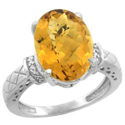 Natural 5.53 ctw Whisky-quartz & Diamond Engagement Ring 10K White Gold - REF-42K3R