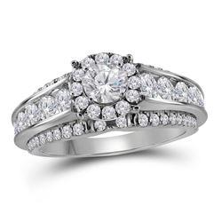 1.98 CTW Diamond Bridal Wedding Engagement Ring 14KT White Gold - REF-299Y9X