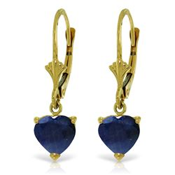 Genuine 3.1 ctw Sapphire Earrings Jewelry 14KT Yellow Gold - REF-42P2H