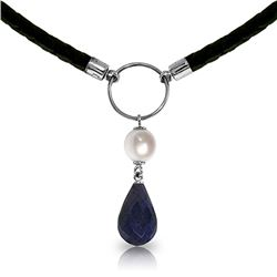 Genuine 10.80 ctw Sapphire & Pearl Necklace Jewelry 14KT White Gold - REF-64F4Z