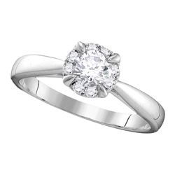 0.52 CTW Diamond Solitaire Bridal Engagement Ring 14KT White Gold - REF-112F5N