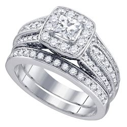 1.5 CTW Princess Diamond Solitaire Halo Bridal Engagement Ring 14KT White Gold - REF-259N5F