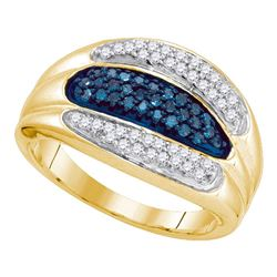 0.40 CTW Blue Color Diamond Triple Row Ring 10KT Yellow Gold - REF-31F4N