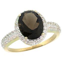 Natural 2.56 ctw Smoky-topaz & Diamond Engagement Ring 14K Yellow Gold - REF-42V2F