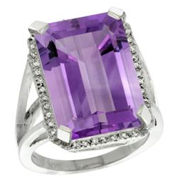 Natural 15.06 ctw amethyst & Diamond Engagement Ring 14K White Gold - REF-81N9G