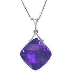 Genuine 8.75 ctw Amethyst Necklace Jewelry 14KT White Gold - REF-27W2Y