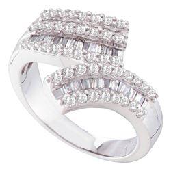 0.84 CTW Diamond Bypass Ring 14KT White Gold - REF-94H4M